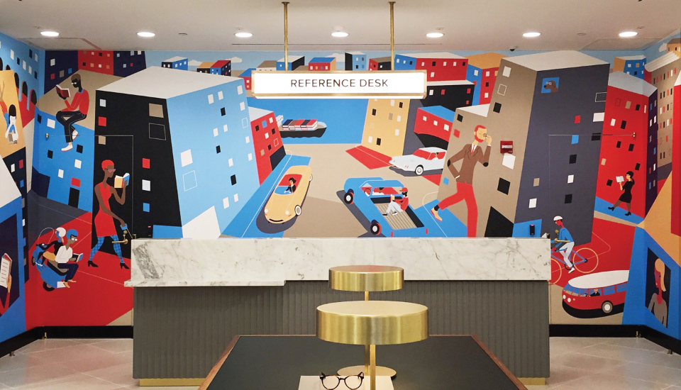 warby parker store mural